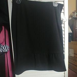 Black ruffle pencil skirt